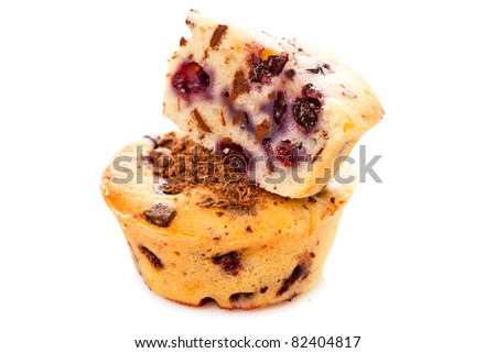 muffins isolated over white - stock photo