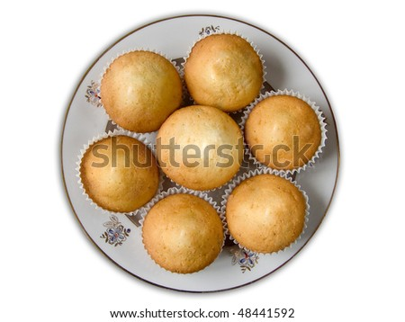 muffins on a plate top view