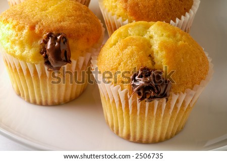 Muffins with hazelnut cream (horizontal) closeup