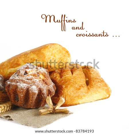 Muffins with raisins isolated on white background