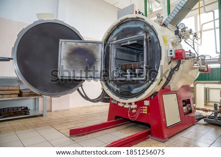 muffle furnace for annealing metal products. Modern Metalworking production ストックフォト ©