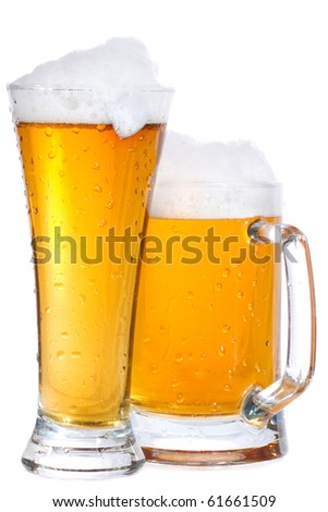 mug and glass with beer on white background - stock photo