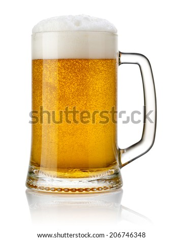 Mug fresh beer isolated. Clipping Path