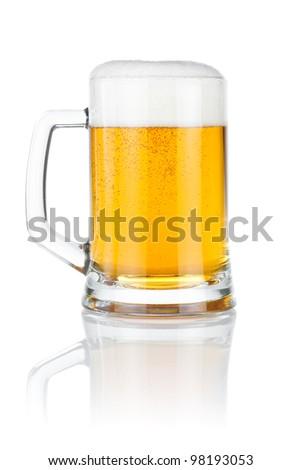 Mug fresh beer isolated over a white background