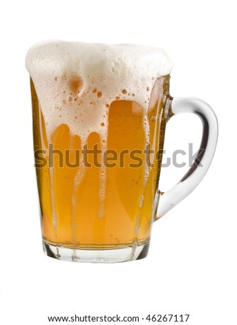 mug full beer isolated on the white background