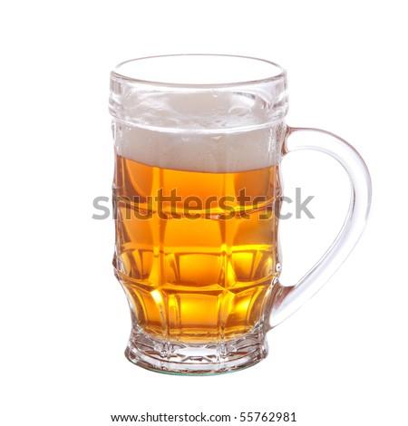 mug full of beer isolated on white background - stock photo