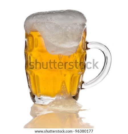 mug of beer isolated on the white background