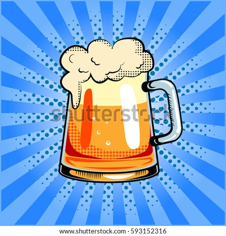 Mug of beer pop art hand drawn raster illustration.