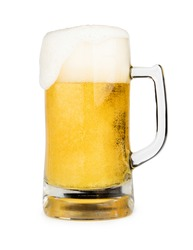 Mug of beer with froth foam on glass isolated on white background with clipping path object design