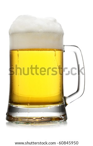 Mug of beer with froth isolated over white background