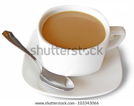Mug of coffee and milk, close up - stock photo