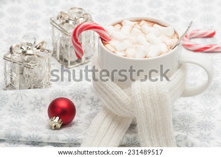 Mug Of Hot Chocolate With Scarf. Marshmallows And Sweets. Christmas Decorations.