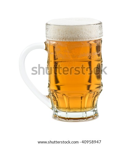 mug of light beer isolated on white
