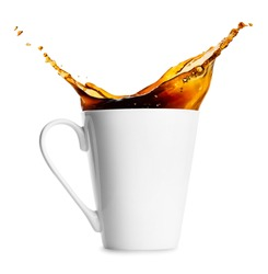 mug of spilling coffee or tea isolated on white background