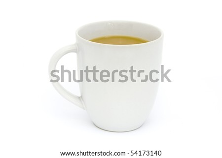 mug of tea over a white background