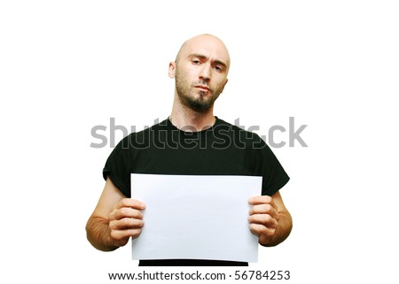 Mug shot of young casual man isolated on white