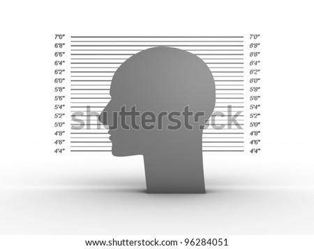 Mug shot on white background. 3D image