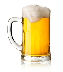 Mug with beer on white background with clipping path