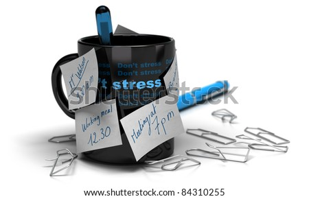 mug with memo notes glued on it with paperclips distorted, white background and blur effect