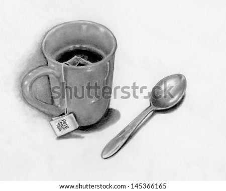 Tea Bag Drawing Mug With Tea Bag And Spoon