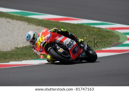 MUGELLO - ITALY, JULY3: Italian Ducati rider Valentino Rossdi pusjes hard at 2011 TIM MotoGP of Italy on July 3, 2011