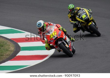 MUGELLO - ITALY, JULY 2: Italian Ducati rider Valentino Rossi during practice at 2011 TIM MotoGP of Italy at Mugello circuit on July 2, 2011