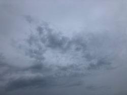 Muggy weather sky. Dark rainy against dusk sky before to be raining. Overcast atmosphere.
