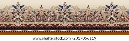Mughal art and Digital floral Print illustration pattern border artwork