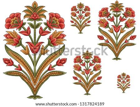 mughal floral motif white ground