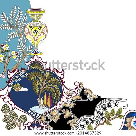 mughal flower borde.Garden Wall Oil-Paint Illustration Artwork for textile print.Indian Traditional Design Illustration For Textile Branding Photo stock ©