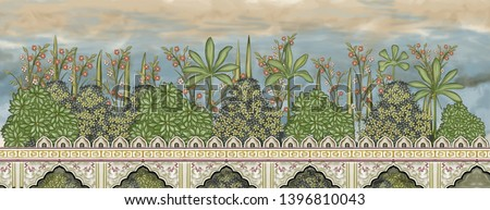 Mughal Garden Wall Painting artwork manually illustrated hand made Painting