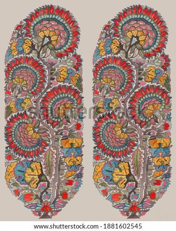 Mughal  Kashmiri Shawl Buta for printing and weaving for Shawl, Saree, Dress Material and furnishing Stock fotó ©