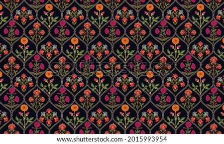 mughal motif Kani Look ornament pattern multi color background