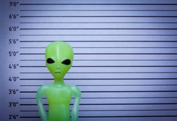 Mugshot of a space alien, extra terrestrial - visitor from another planet