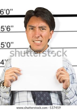 mugshot of an angry prisoner