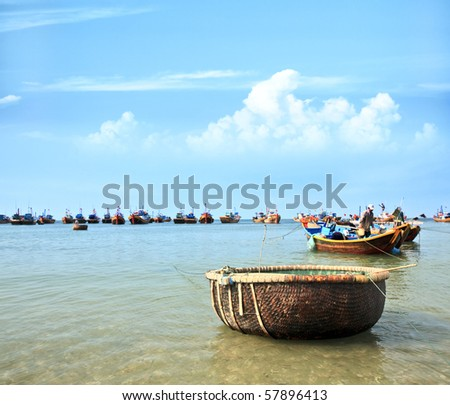 Mui Ne fishing village with a lot of boat