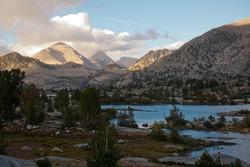 Muir Lake on the John Muir Trail in the high Sierra Mountains in John Muir Wilderness National Park