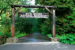 Muir Woods National Monument Entrance sign, California, USA