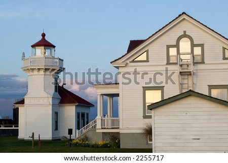 Mukilteo lighthouse in Washington state at sunset