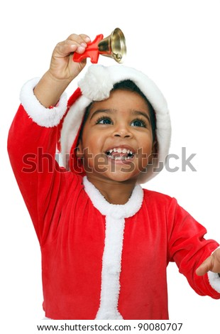 Mulatto child on a White background, dressed as Santa Claus