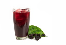 Mulberry juice with mulberry fruits and leaves isolated on white background.
