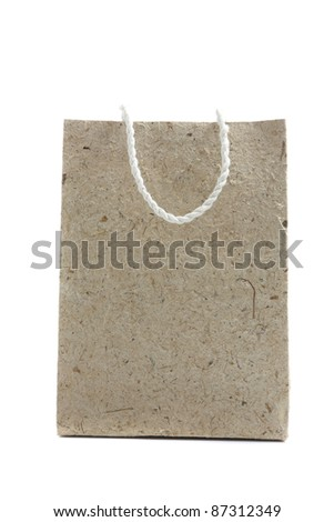 Mulberry paper bag isolated in white background