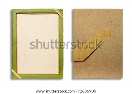 Mulberry paper picture frame. - stock photo