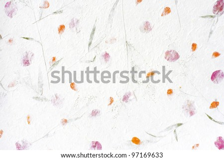 Mulberry paper with red flower texture background.