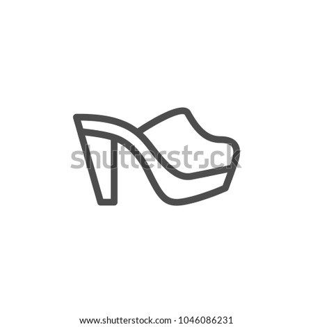 Mule shoe line icon isolated on white