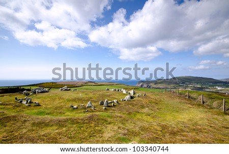 Mull Hill Stone Circle Overlooking Port Erin and Brada Head - Isle of Man on a bright sunny day.