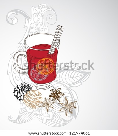 mulled warm wine background, illustration for design with floral elements