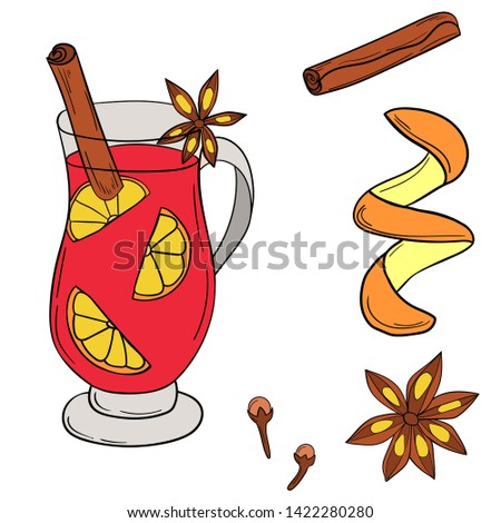 mulled wine and spices clip art. Set of Christmas and New Year elements.