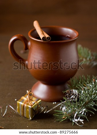 Mulled wine in cup, selective focus