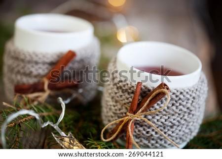 Mulled wine in mug with mug warmer